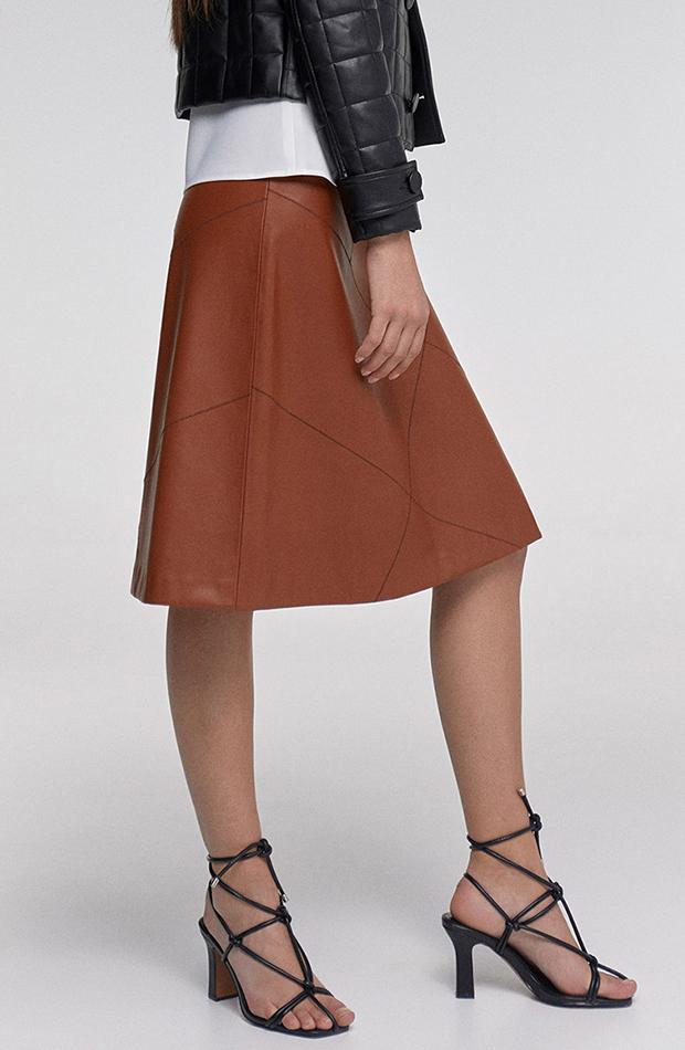 falda de cuero sfera marrón