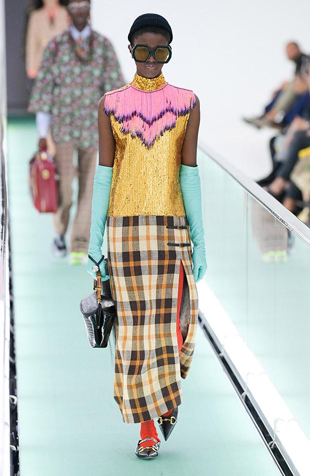 Gucci primavera verano 2020 falda top lentejuelas