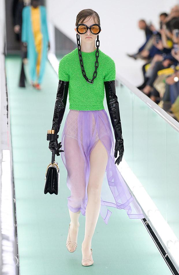 Gucci primavera verano 2020 falda lila jersey verde