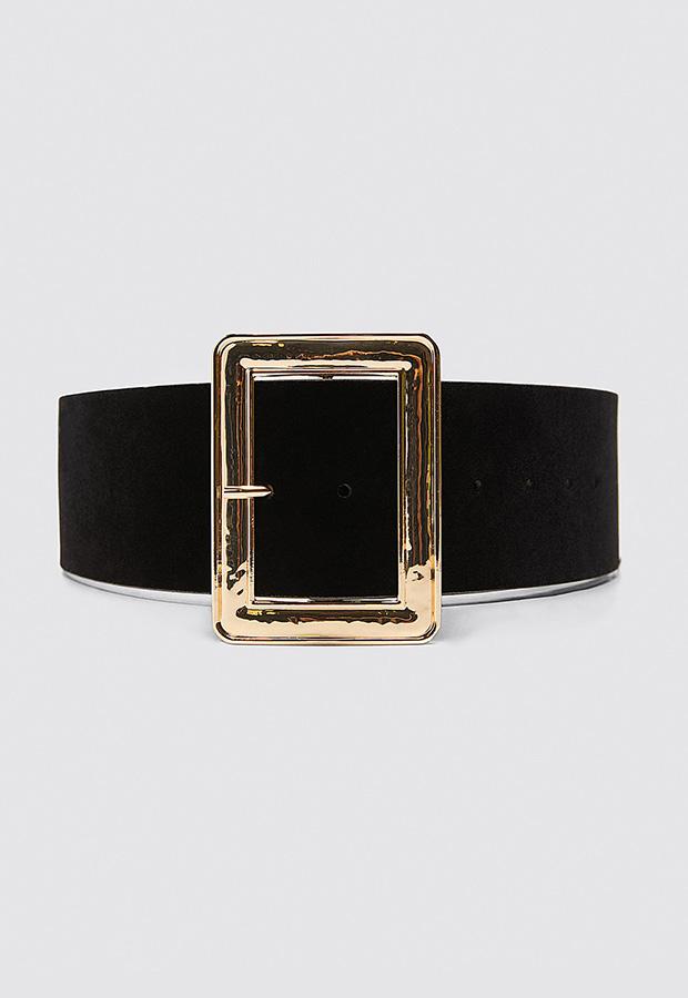 Cinturón ancho con hebilla metálica cuadrada de Zara
