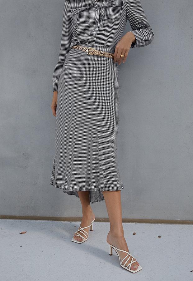 Falda estampada de pata de gallo de Zara