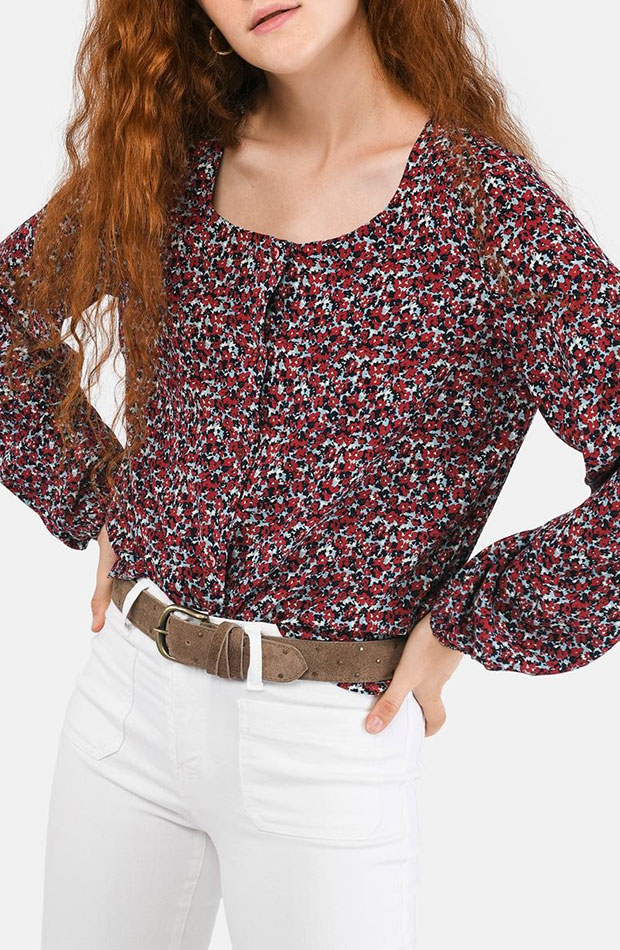 blusa flores cuello redondo brownie