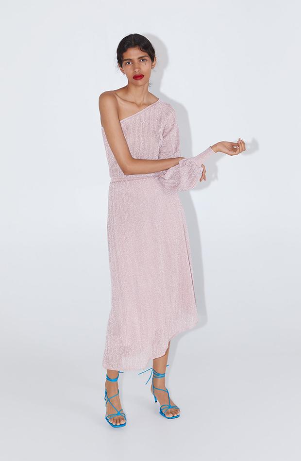 vestido rosa claro metalizado