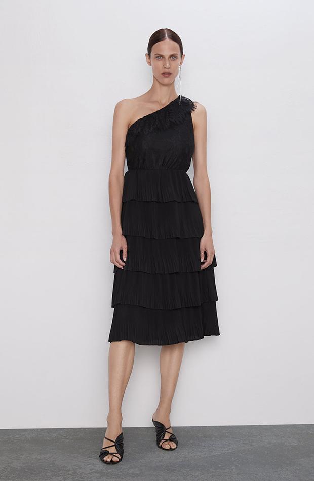 Vestido asimétrico negro combinado