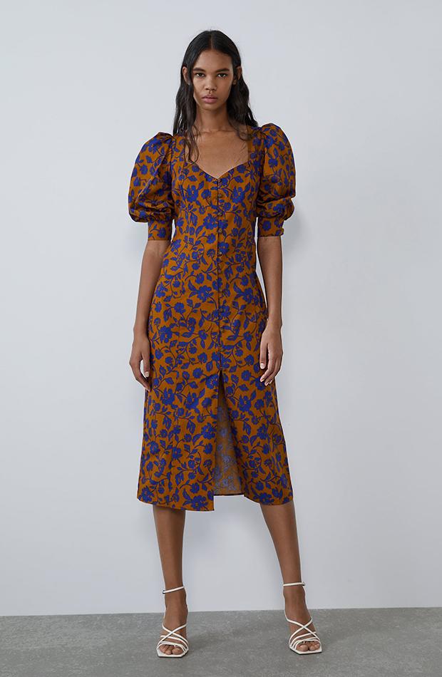 vestido popelin mangas abullonadas