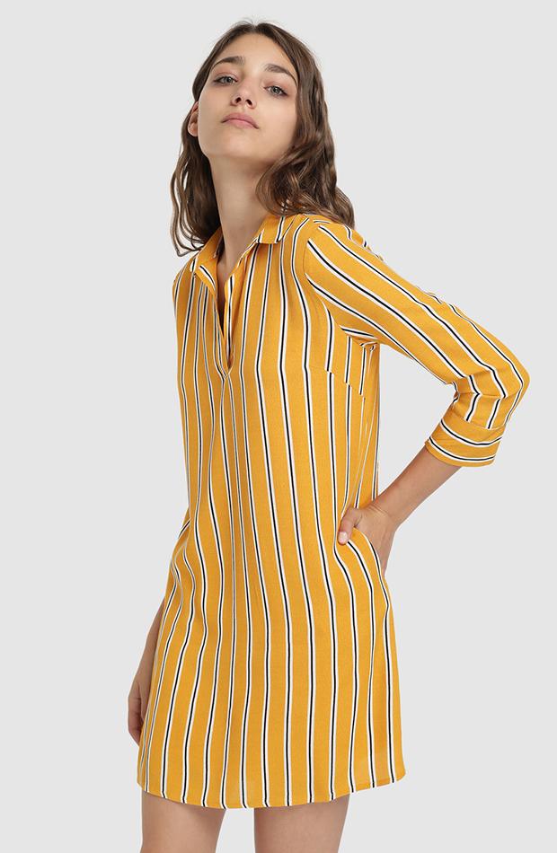 Vestido camisero amarillo con rayas