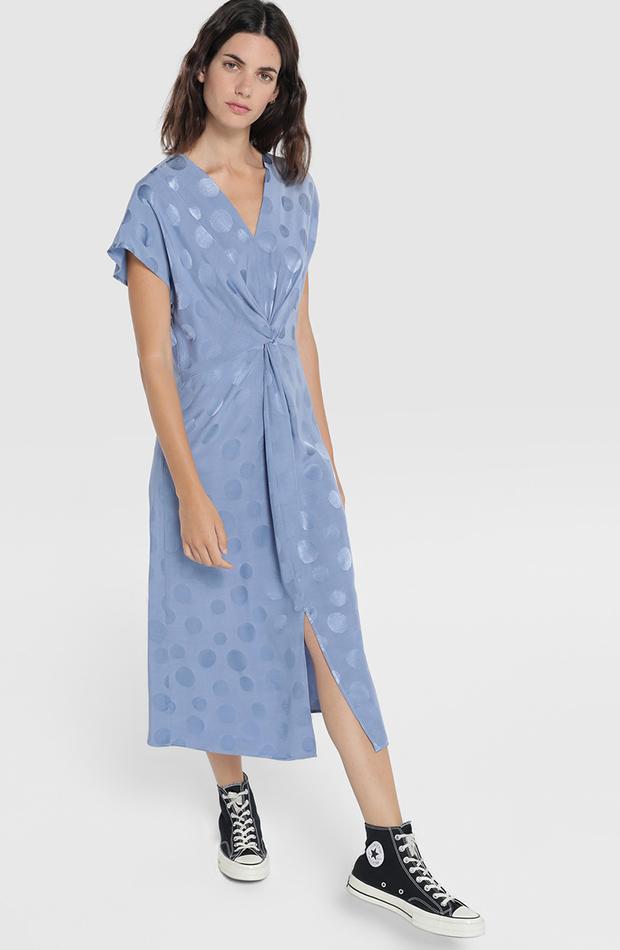 Vestido satinado azul celeste