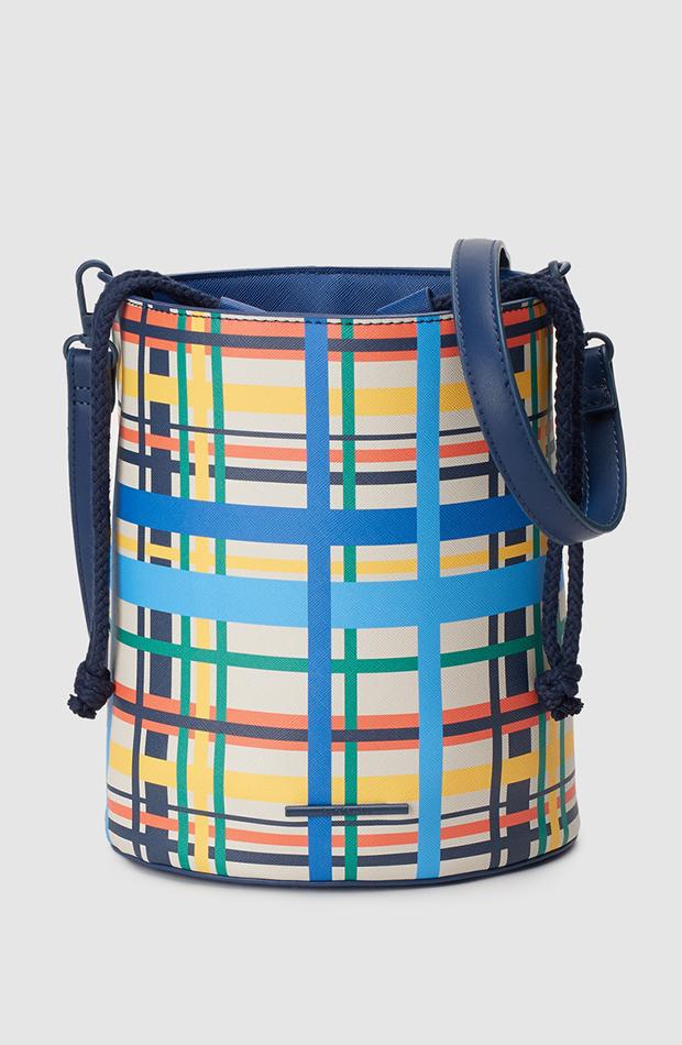 estampado de cuadros bolso cubo multicolor