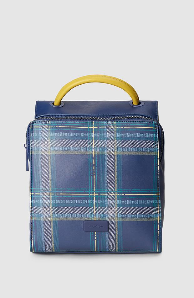 estampado de cuadros bolso azul marino
