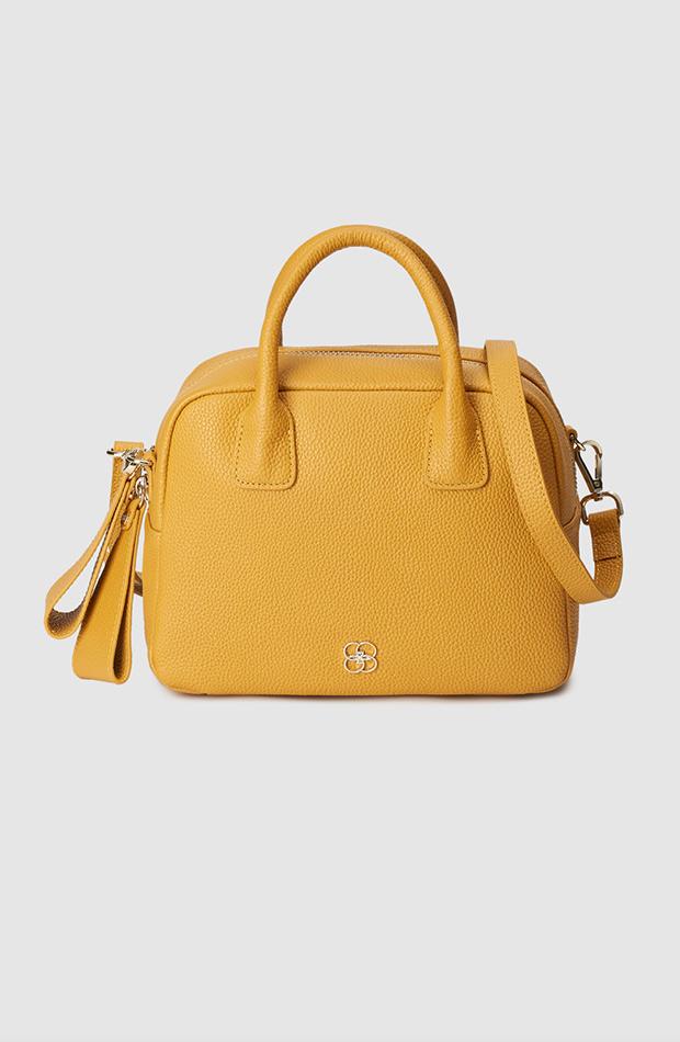 bolso amarillo tipo bowling gloria ortiz