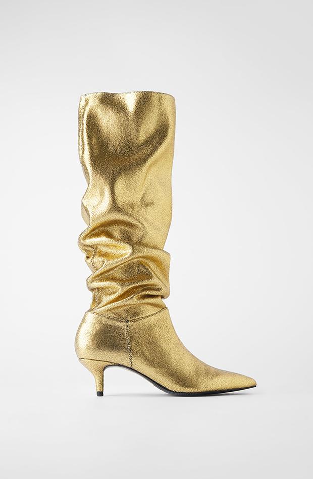 Los ochenta Botas altas doradas de Zara