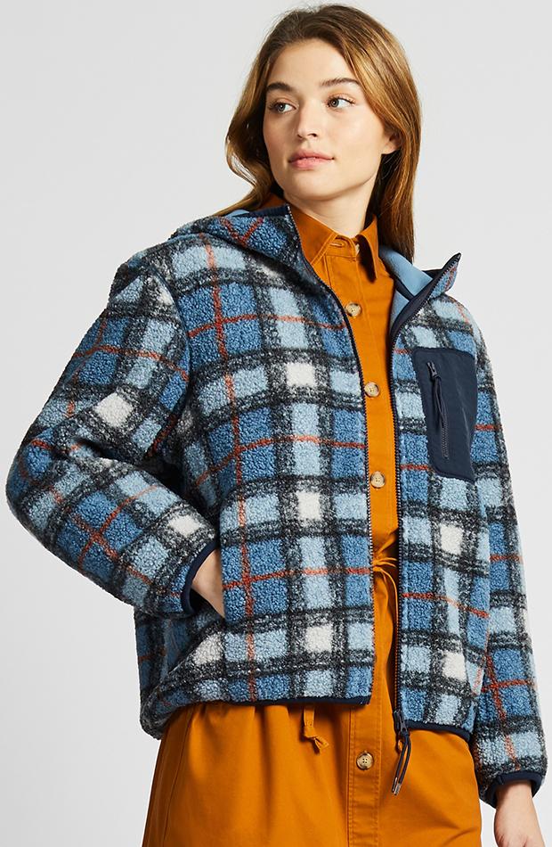 Amor por los básicos Uniqlo chaqueta polar estampado de cuadros
