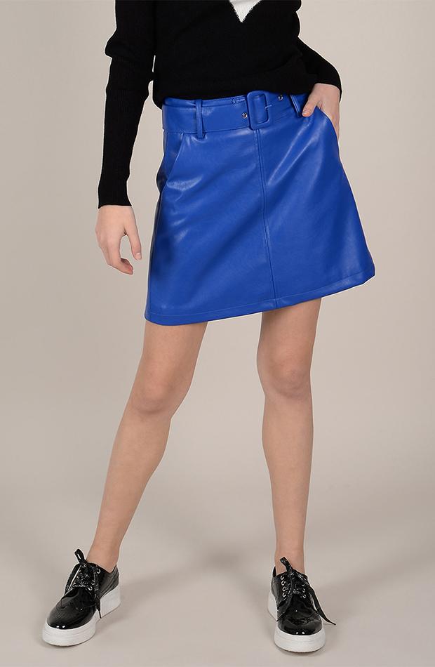 efecto piel falda azul