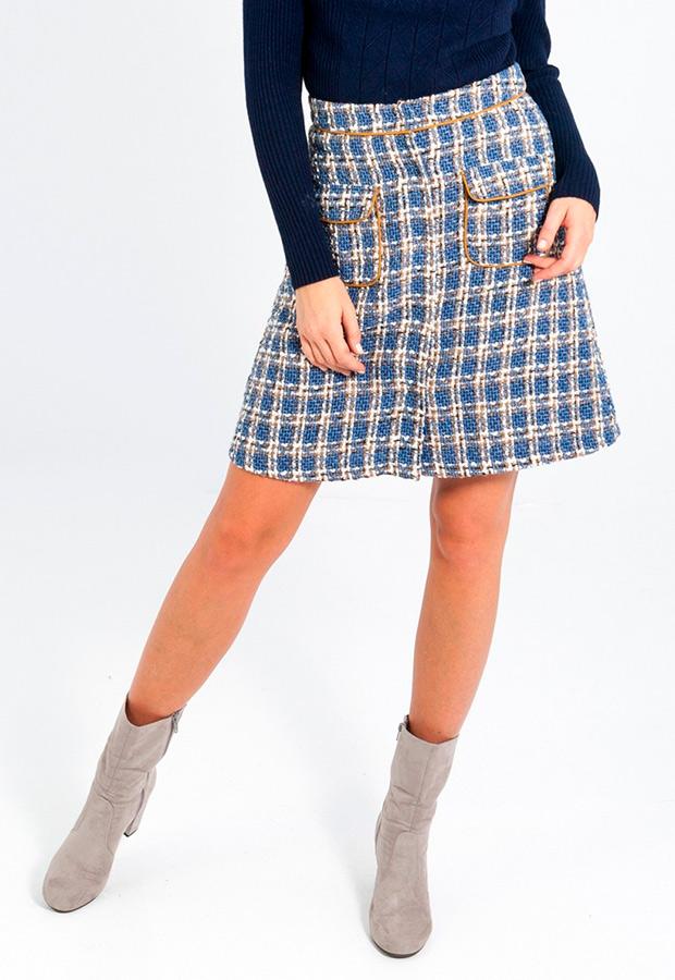 Falda de tweed con bolsillos