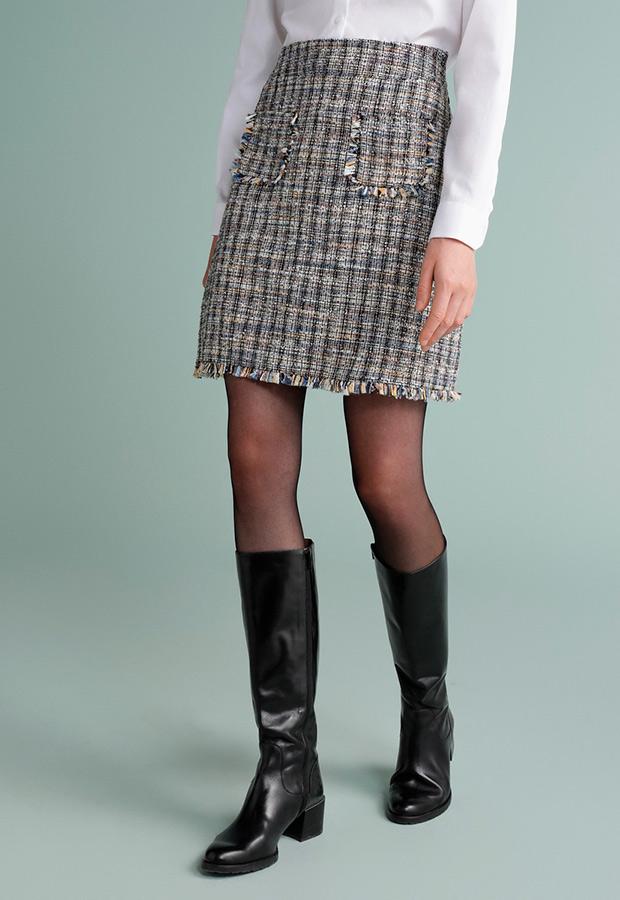 Falda con bolsillos de tweed