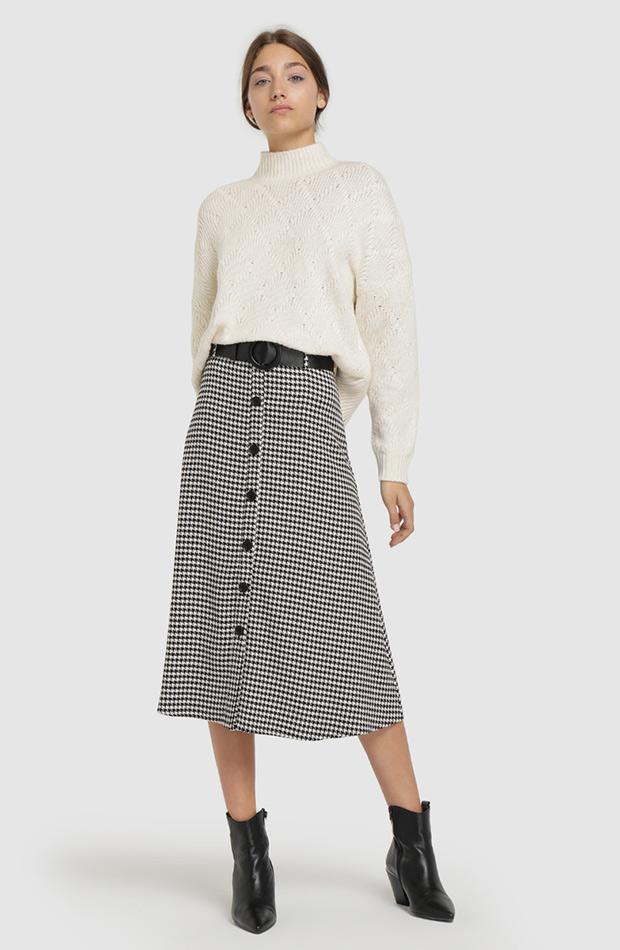 falda midi con botones