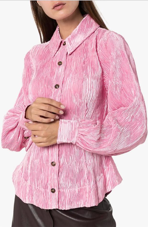 Los ochenta Blusa de Ganni color rosa