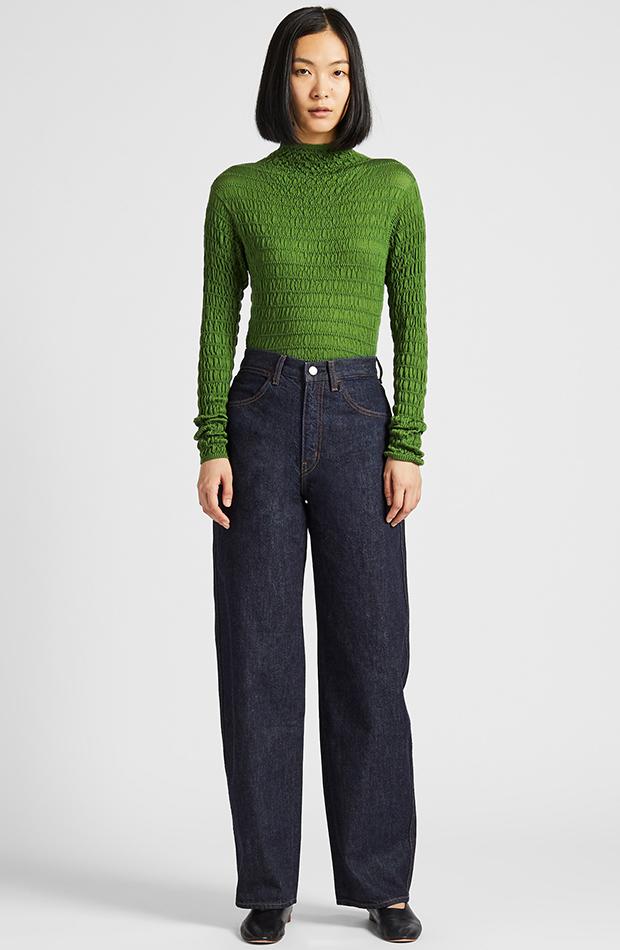 Amor por los básicos Uniqlo jersey fruncido verde