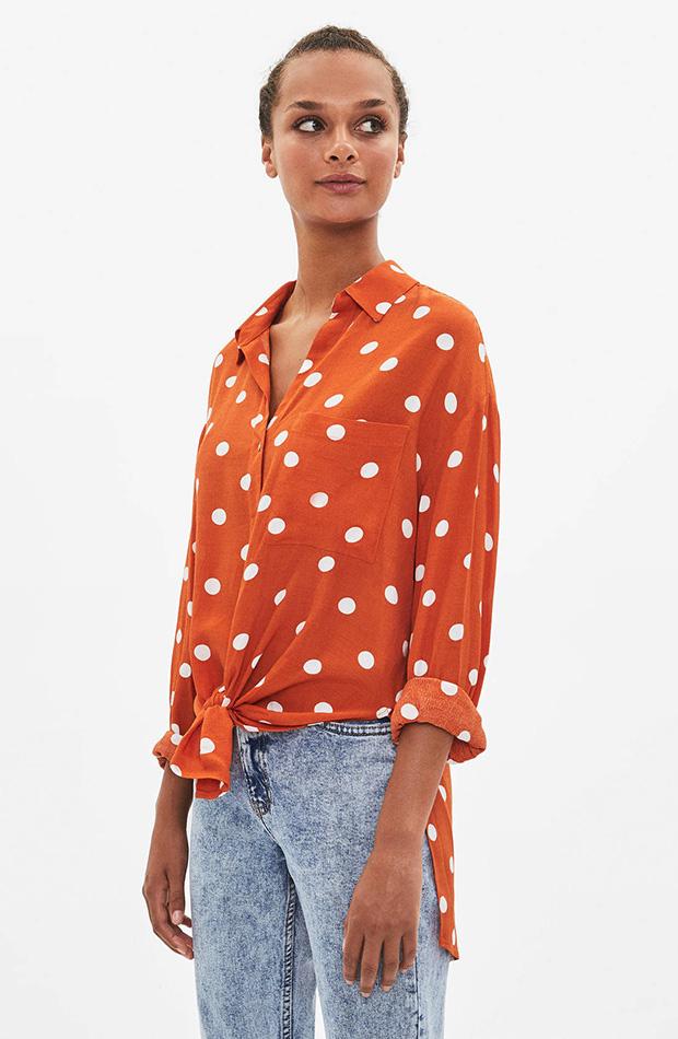 Camisa de topos naranja