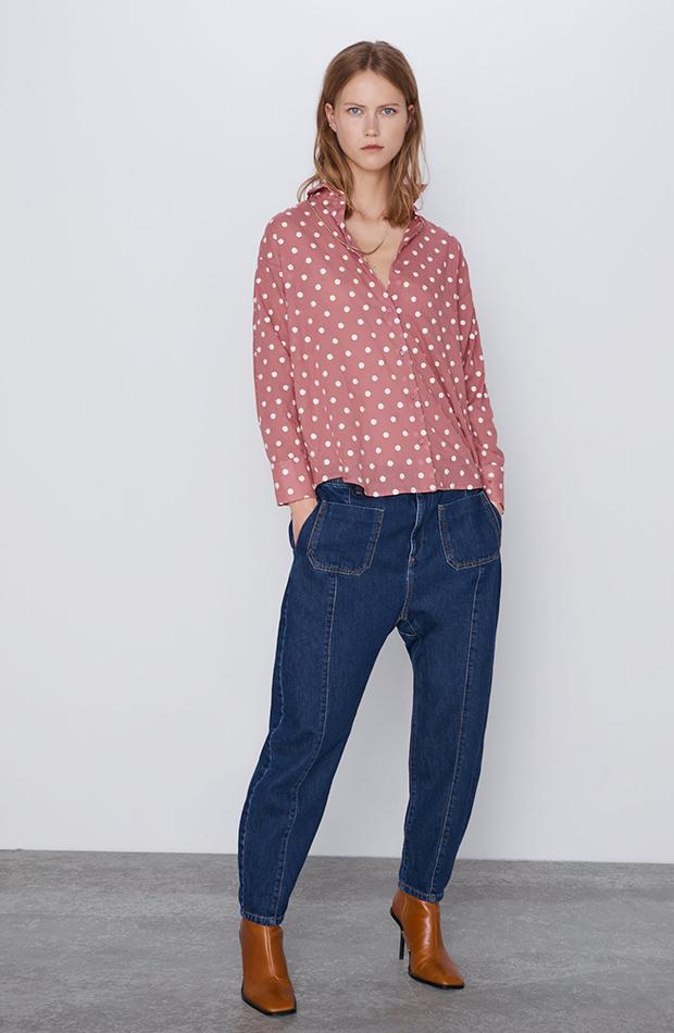 Camisa rosa de cuello solapa de Zara con lunares