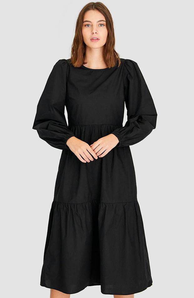 Vestido Negro de popelín de las novedades de otoño 2019 de Stradivarius