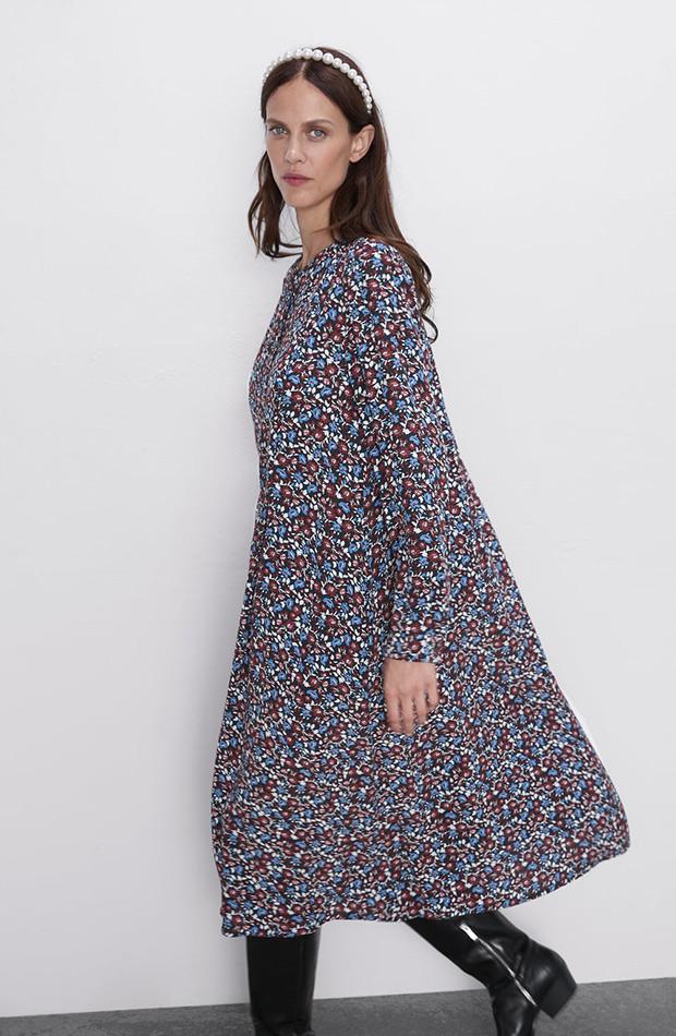 Vestido de flores largo de Zara