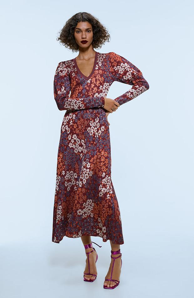 Vestido de flores de punto de Zara