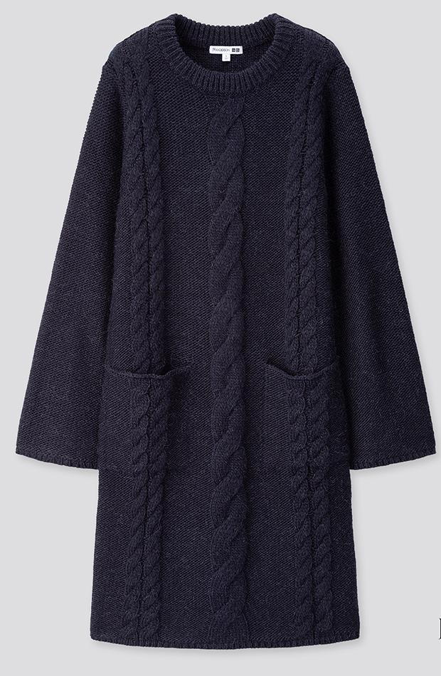 Amor por los básicos Uniqlo vestido de punto azul