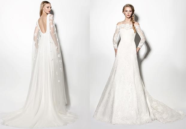 Vestidos de novia de invierno de María Salas cola larga