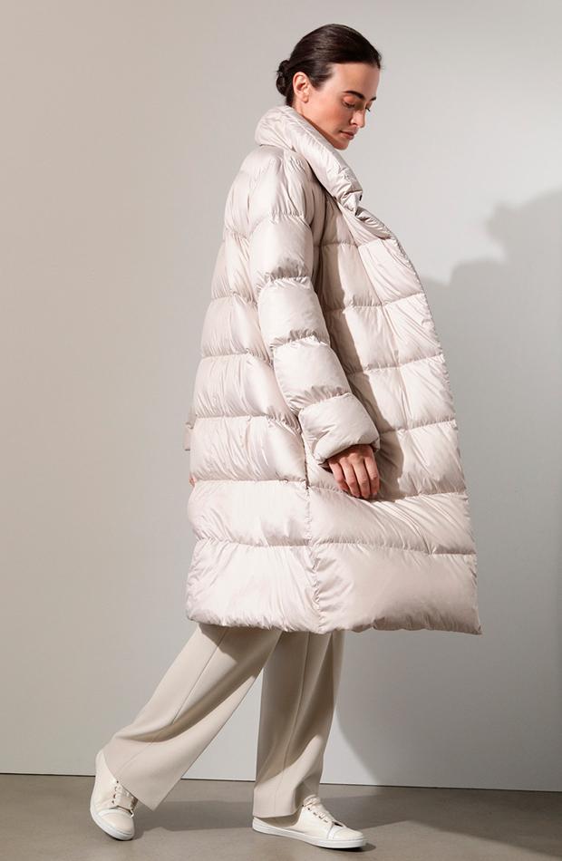 abrigo plumifero beige prendas oversize