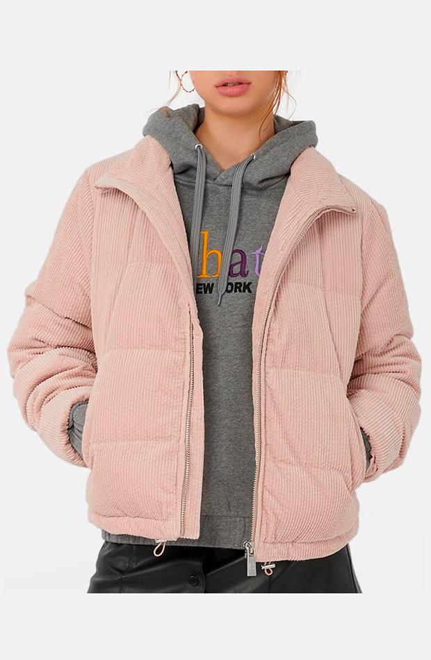abrigo plumifero rosa palo de brownie prendas de pana