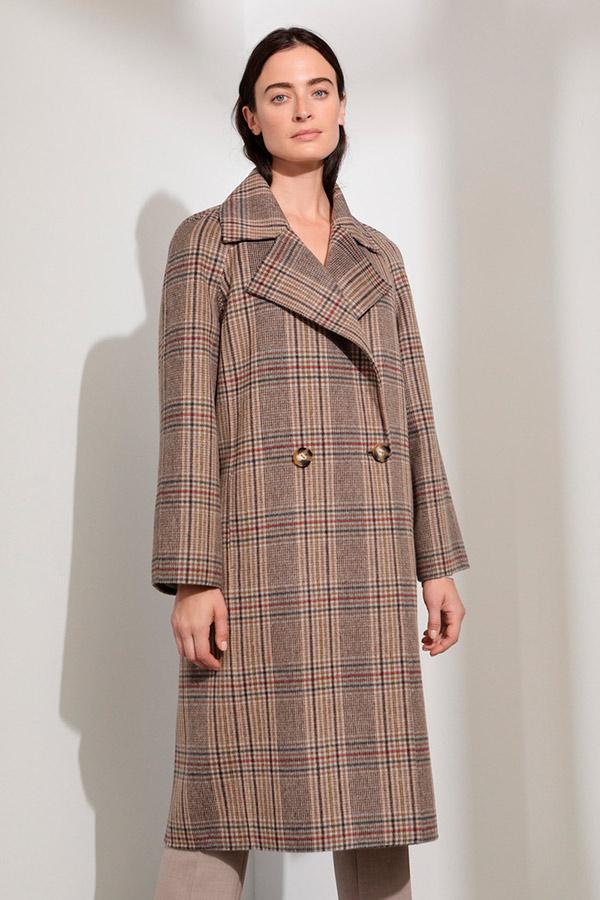 Abrigo de lana con estampado de cuadros