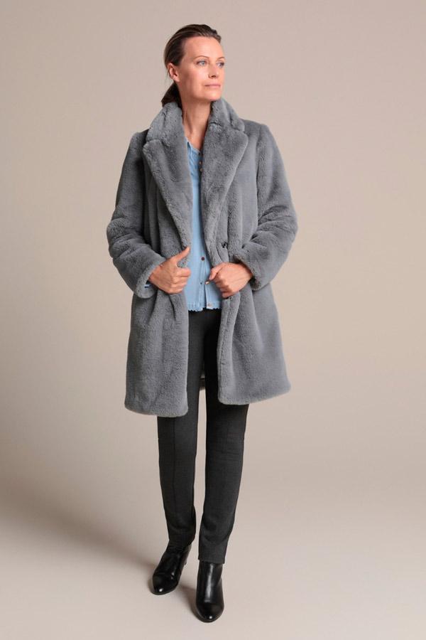 Abrigo de pelo en color liso de Woman El Corte Inglés