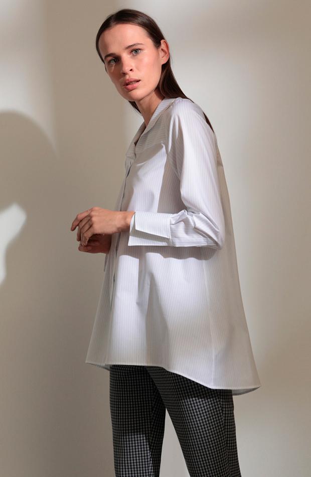 blusa rayas blanca de popelín woman prendas oversize