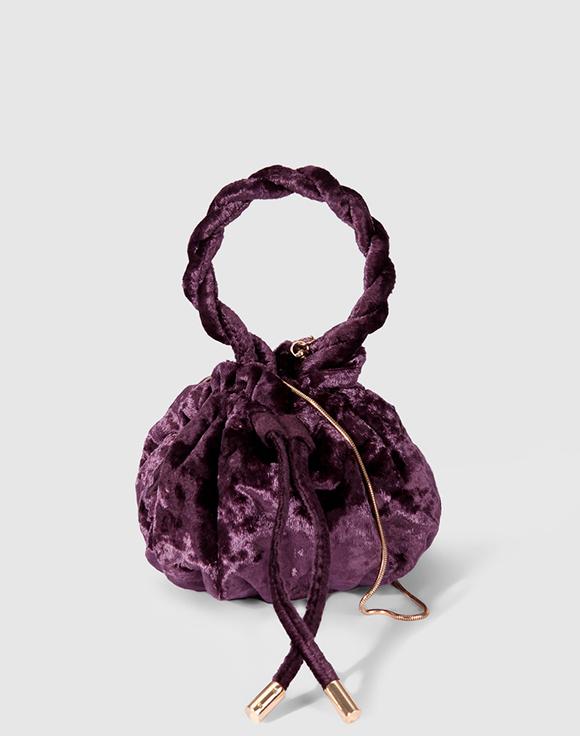 bolso saco mini morado southern cotton prendas de terciopelo