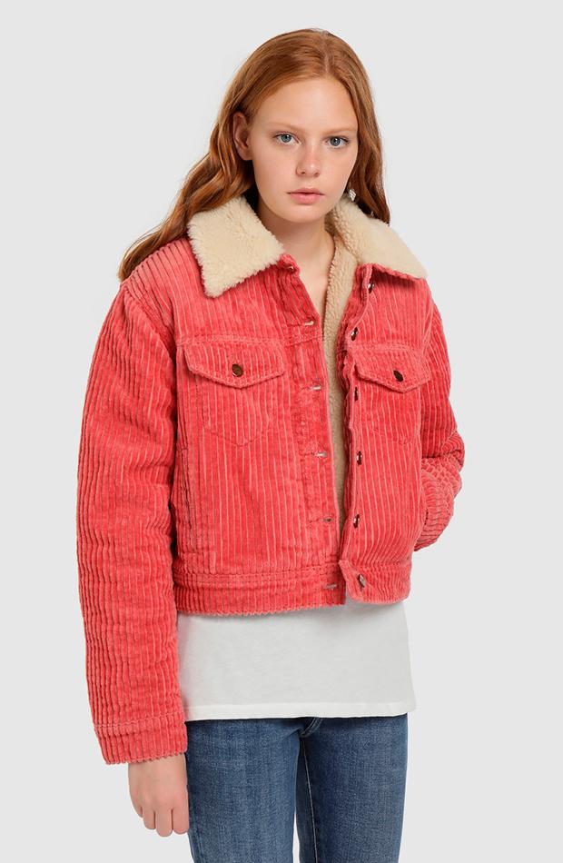 cazadora rosa pepe jeans prendas de pana