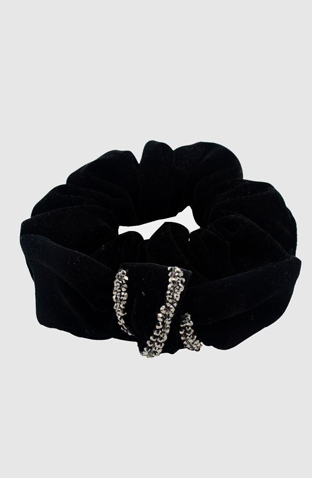 Coletero negro de terciopelo con diamantes de Pressume
