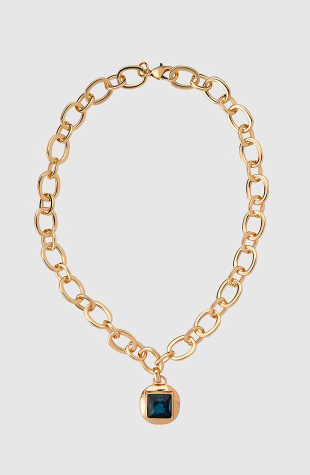 collar cadena dorada detalle azul el corte ingles looks para cena de empresa