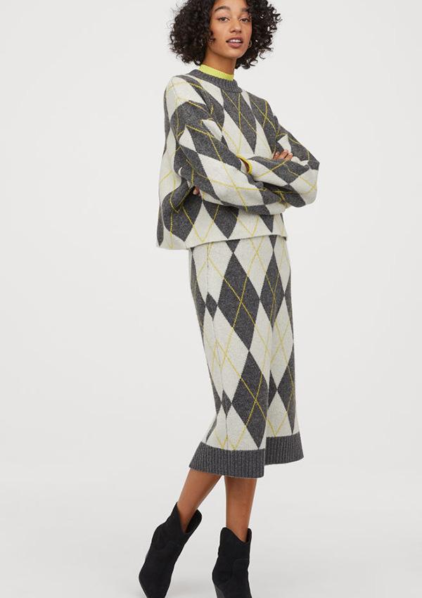 Falda de estampado de rombos de H&M