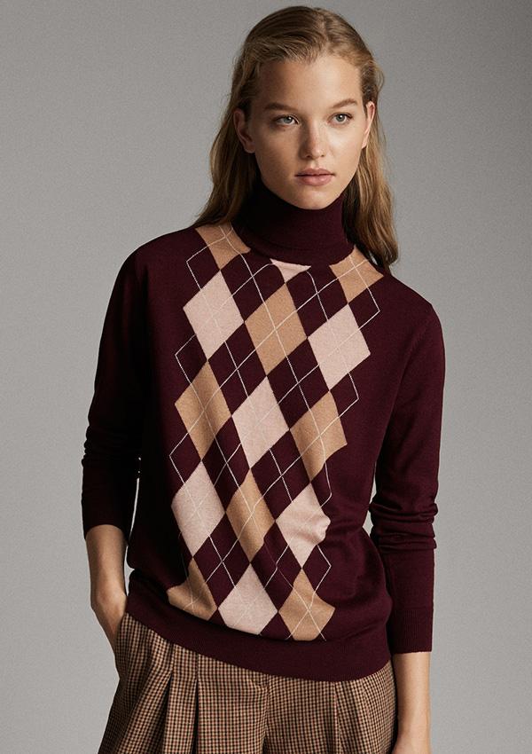 Jersey de estampado de rombos de Massimo Dutti