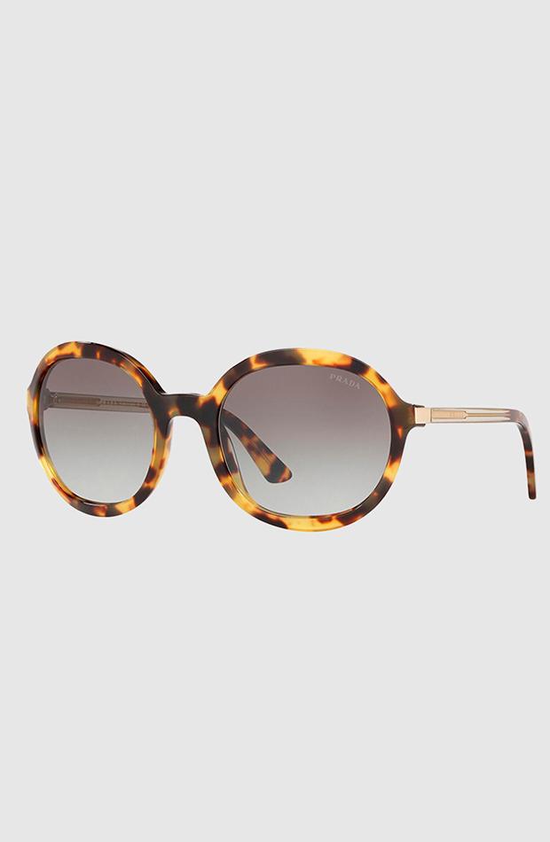 gafas de sol de prada redondas de acetato havana estilo setentero