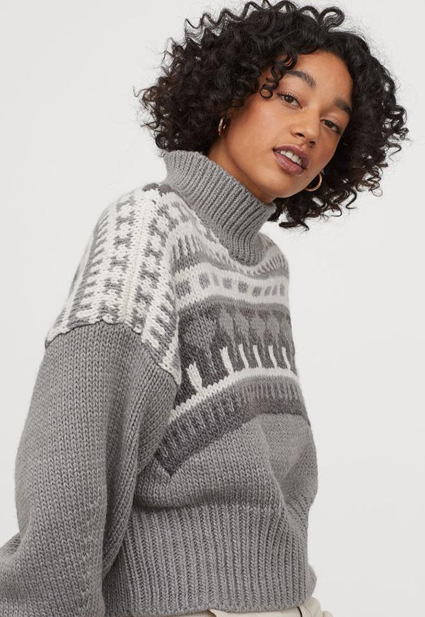 Jersey de estampado jacquard gris de H&M