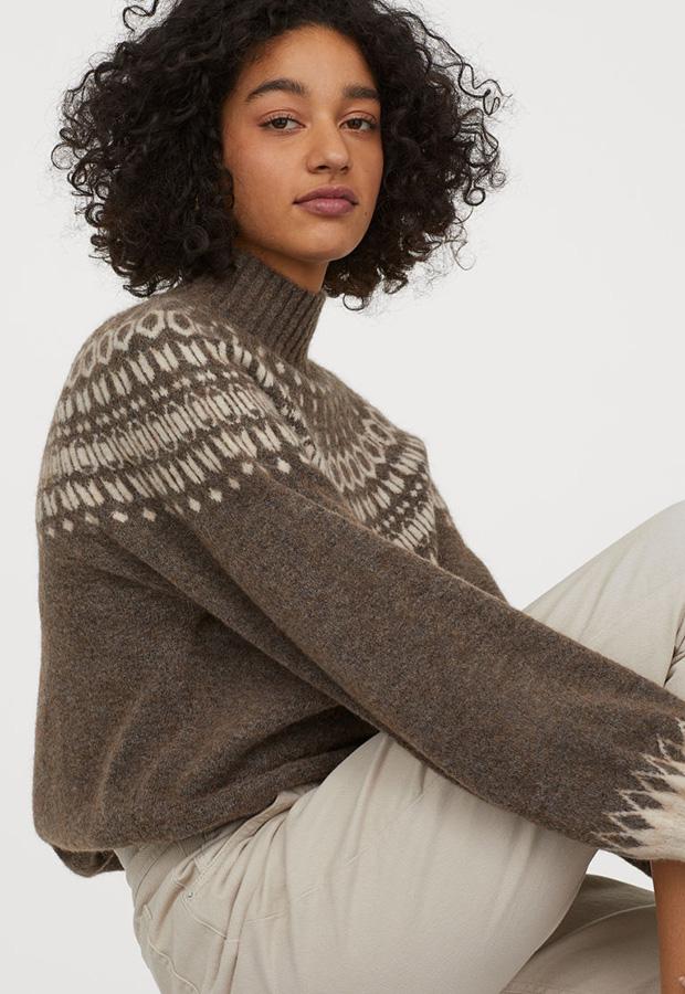 Jersey marrón de estampado jacquard de H&M