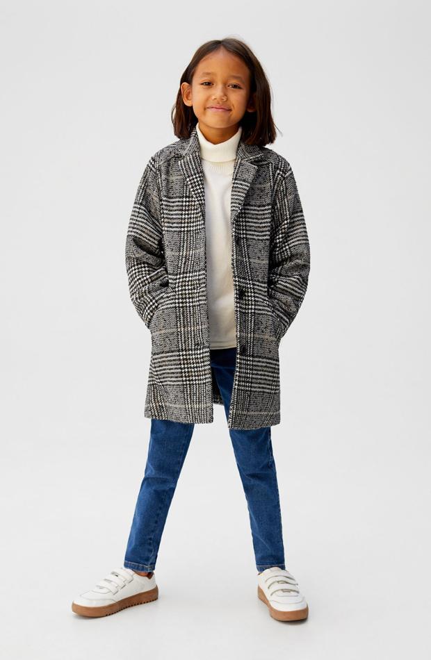 mango kids abrigo de cuadros nina