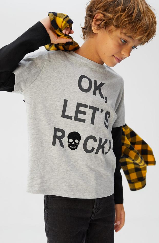 mango kids camiseta con texto nino