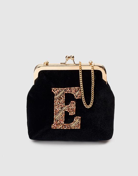 monedero negro inicial bordada el corte inglés perlas prendas de terciopelo