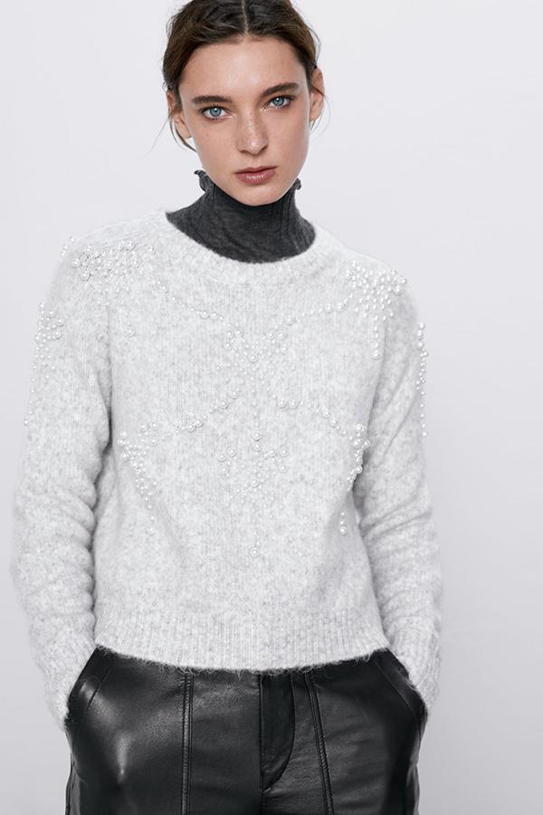 Jersey con perlas de las Novedades de Zara invierno 2019 2020