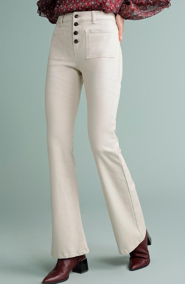 Pantalón de mujer campana tejido twill beige talle alto tintoretto estilo setentero