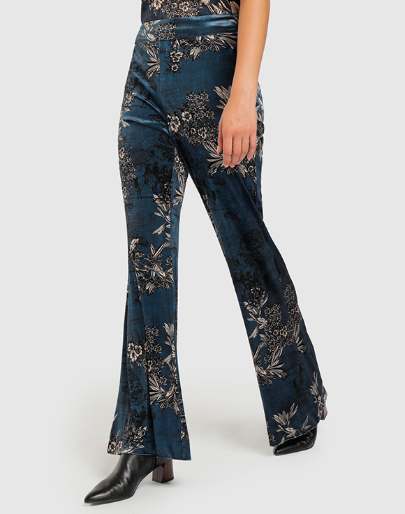 pantalon fluido estampado azul amitie prendas de terciopelo