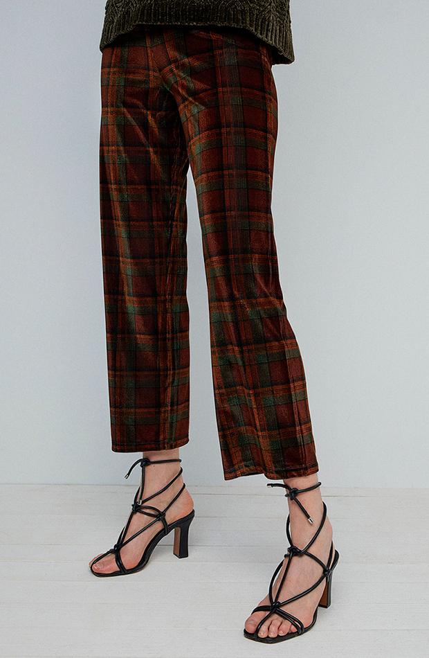 pantalón de terciopelo con estampado de cuadros de sfera estilo setentero